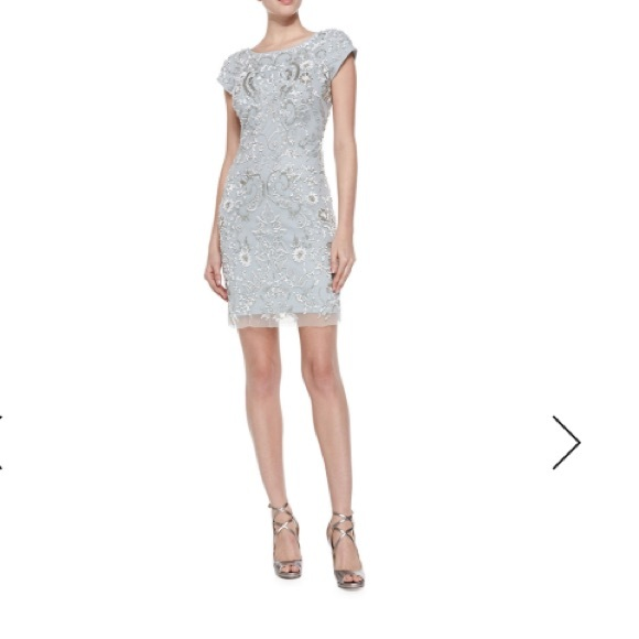 b36c6867a9 Aidan Mattox Dresses | Nwt Sequined Sheath Dress In Grey | Poshmark